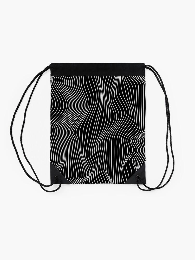 Alternate view of Optical Illusion Minimal Lines Drawstring Bag