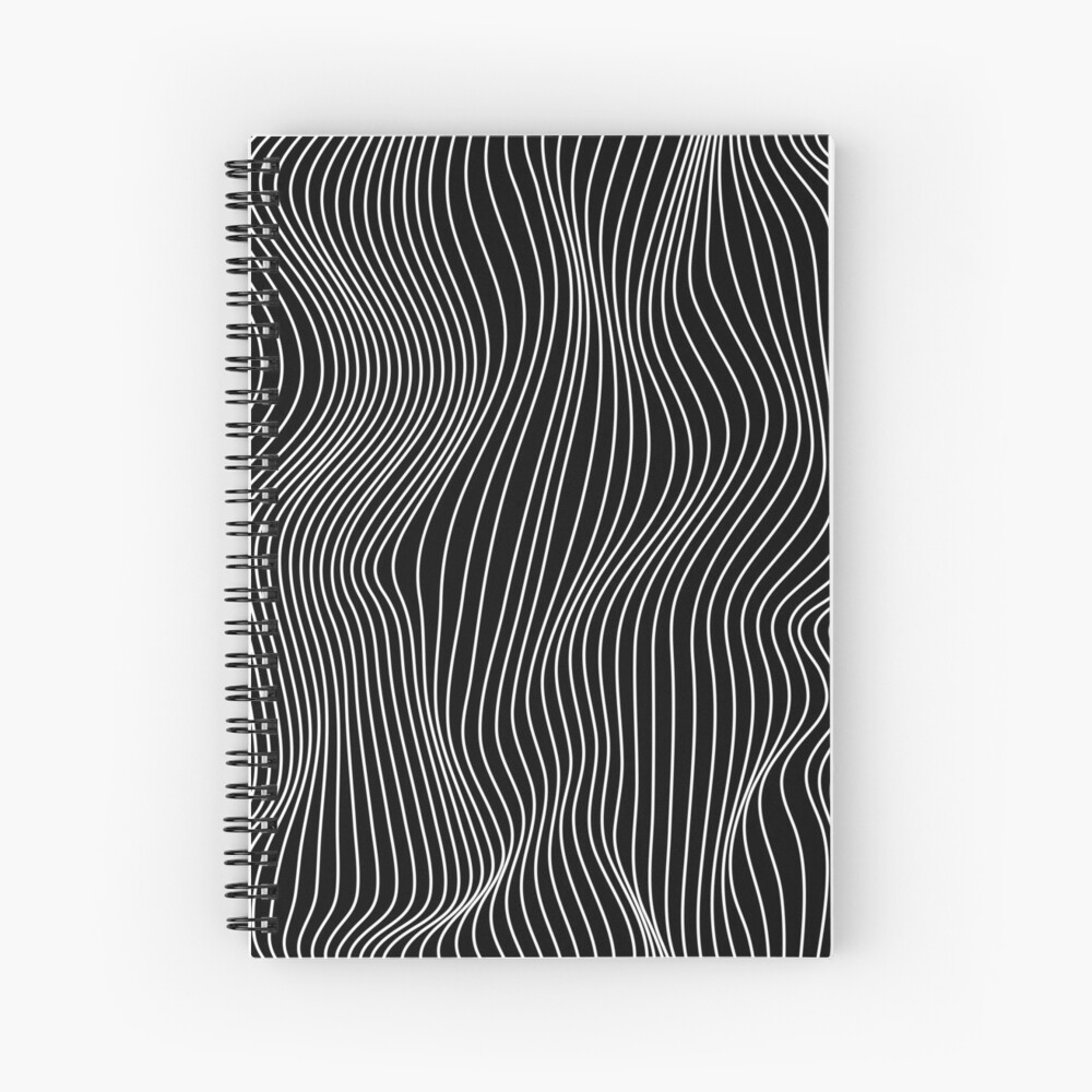 Optical Illusion Minimal Lines Spiral Notebook