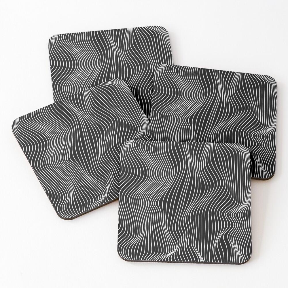 Optical Illusion Minimal Lines Coasters (Set of 4)