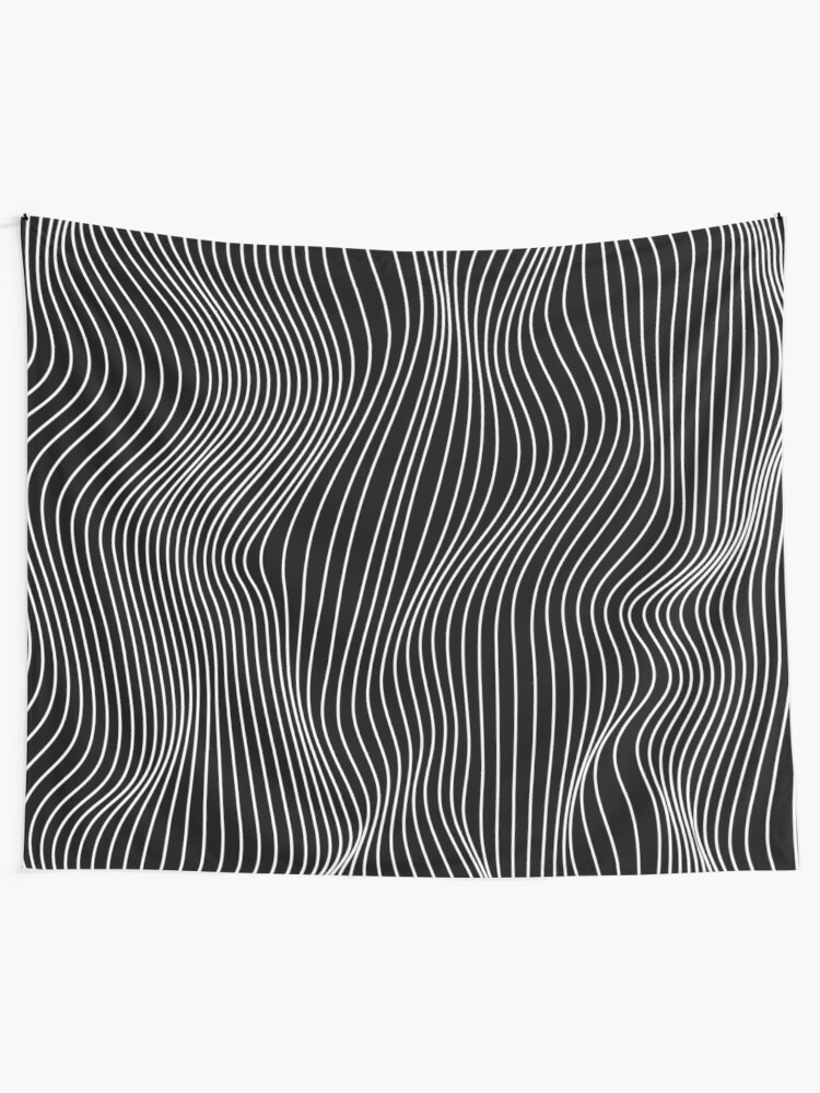 Alternate view of Optical Illusion Minimal Lines Tapestry