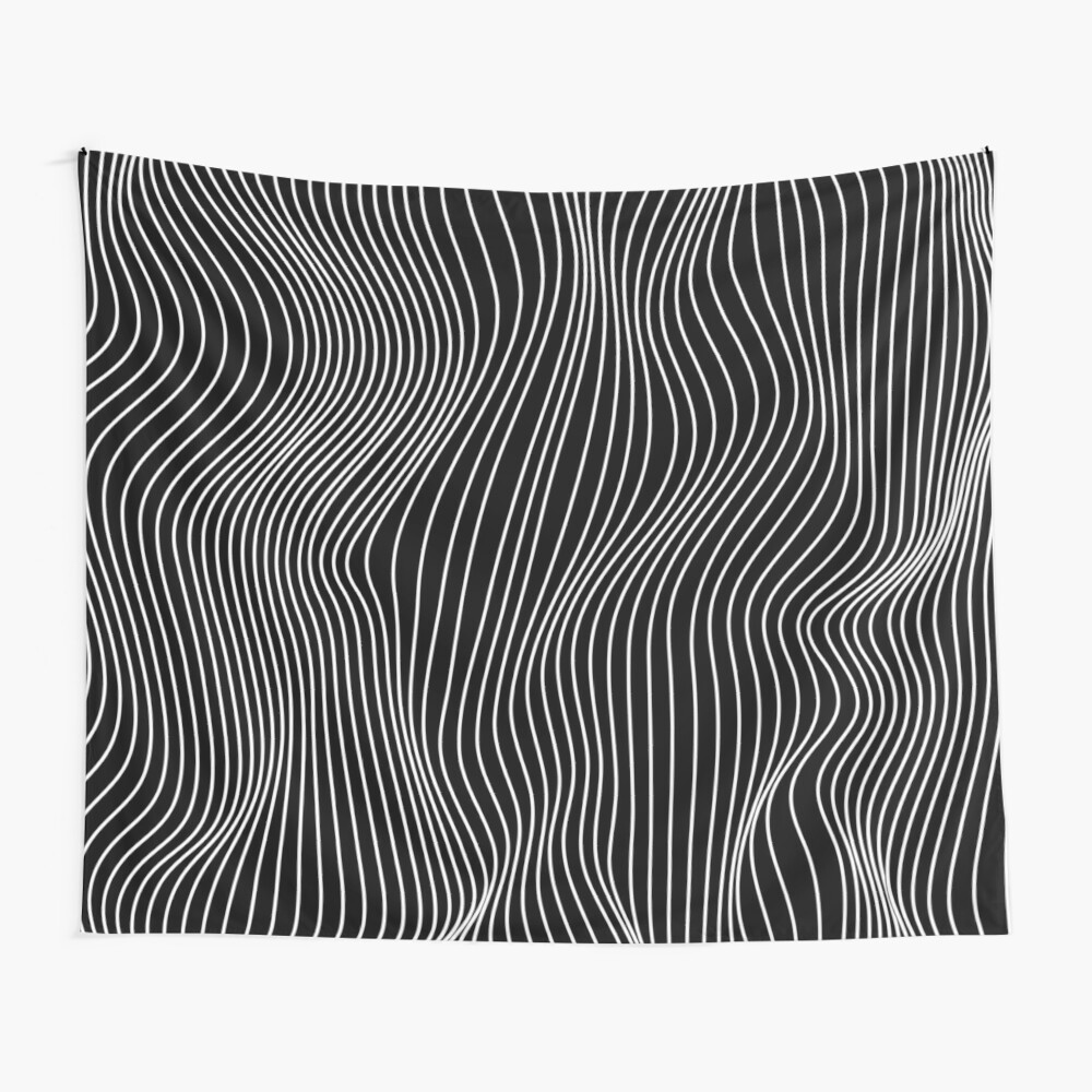 Optical Illusion Minimal Lines Wall Tapestry