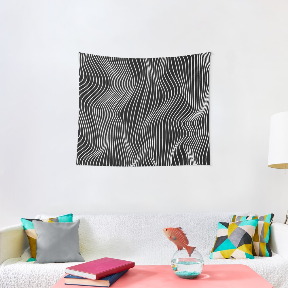 Optical Illusion Minimal Lines Tapestry