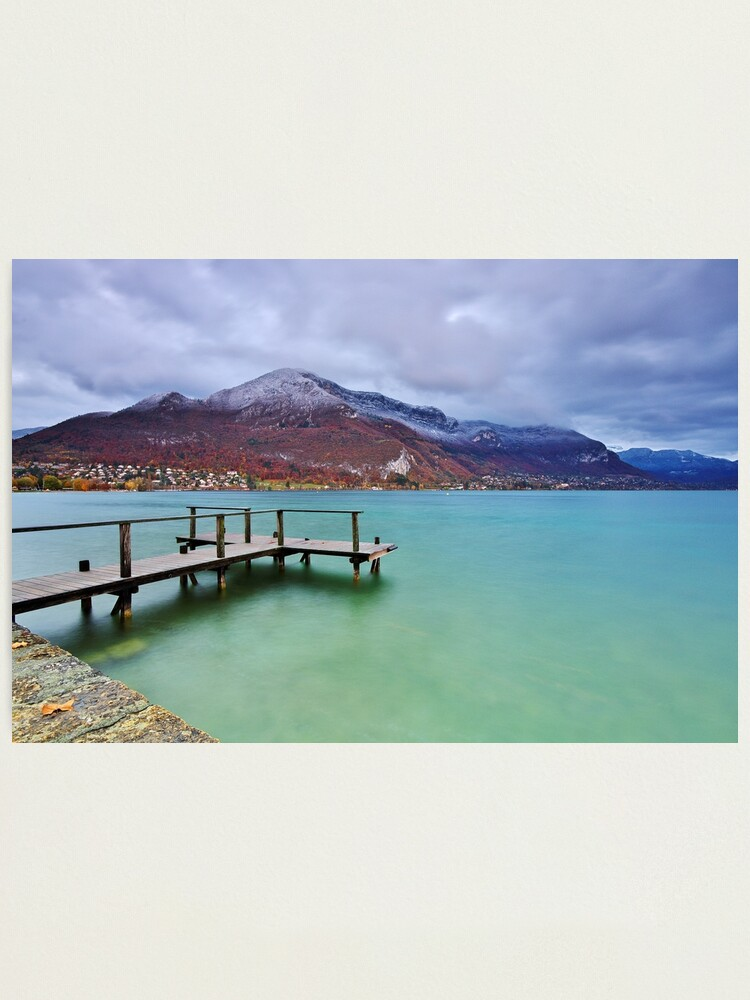 Alternate view of Autumn snow over the lake in Annecy Photographic Print