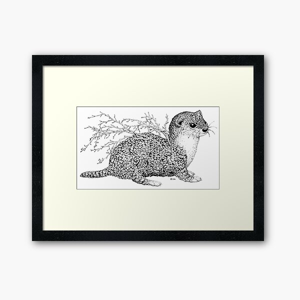 Leaf Weasel Framed Art Print