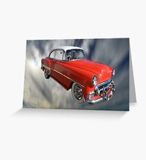Red Classic Car From The 50s 60s Greeting Card
