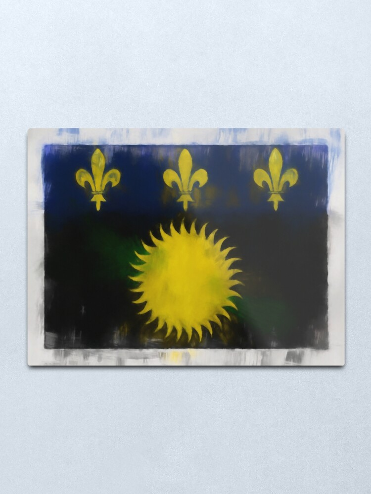 Alternate view of Guadeloupe Flag Reworked No. 66, Series 1 Metal Print