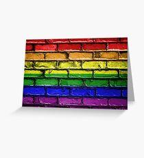 Colorful LGBT rainbow pride flag brick wall Greeting Card