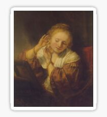 """Rembrandt Harmenszoon van Rijn, """"Young Woman Trying Earrings"""", 1654 Sticker"""