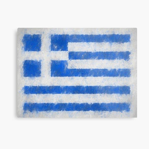 Greece Flag Reworked No. 66, Series 4 Metal Print