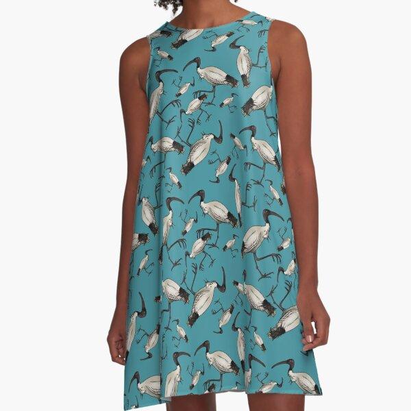 White Ibis / Bin Chickens A-Line Dress