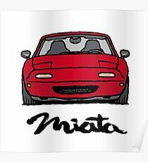 MX5 Miata NA Red Poster