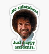 Bob ross stickers redbubble bob ross painter pbs no mistakes just happy accidents sticker voltagebd Gallery