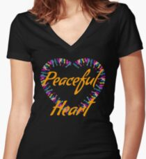 Peaceful heart- hands and heart beautiful prints Women's Fitted V-Neck T-Shirt