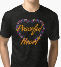 Peaceful heart- hands and heart beautiful prints Tri-blend T-Shirt