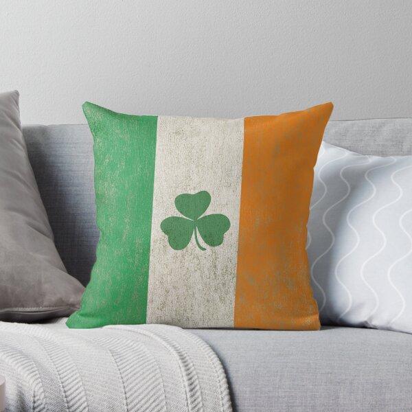 Vintage Irish Ireland Shamrock Flag Throw Pillow