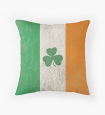 Vintage Irish Ireland Shamrock Flag Throw Pillow