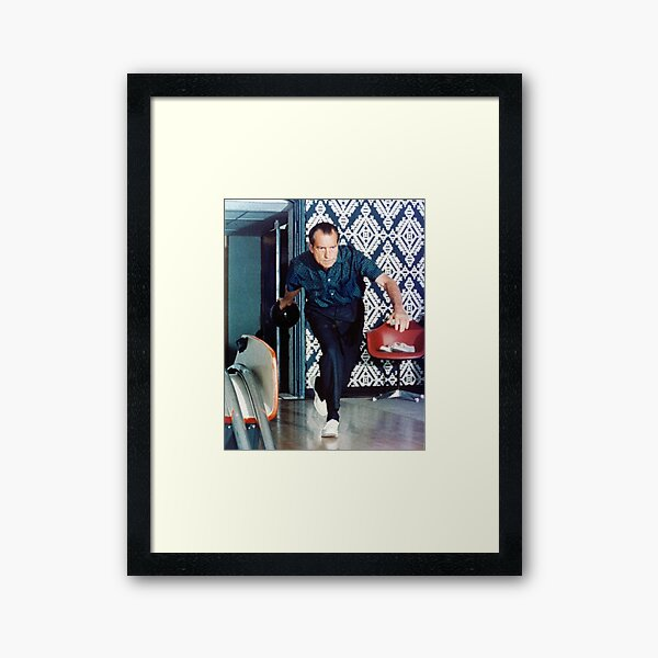 Richard Nixon Bowling Framed Art Print