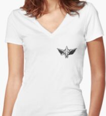 SPACE ROCKET BLACK Women's Fitted V-Neck T-Shirt