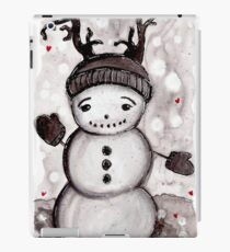 Gray Scale Snowman/ Red Hearts iPad Case/Skin