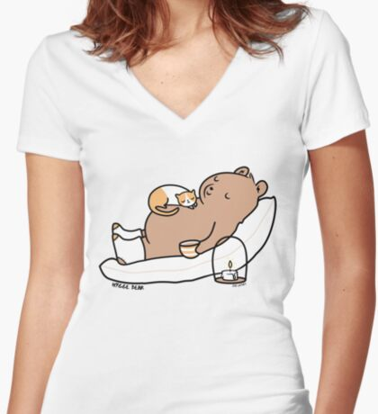 Hygge Bear Women's Fitted V-Neck T-Shirt