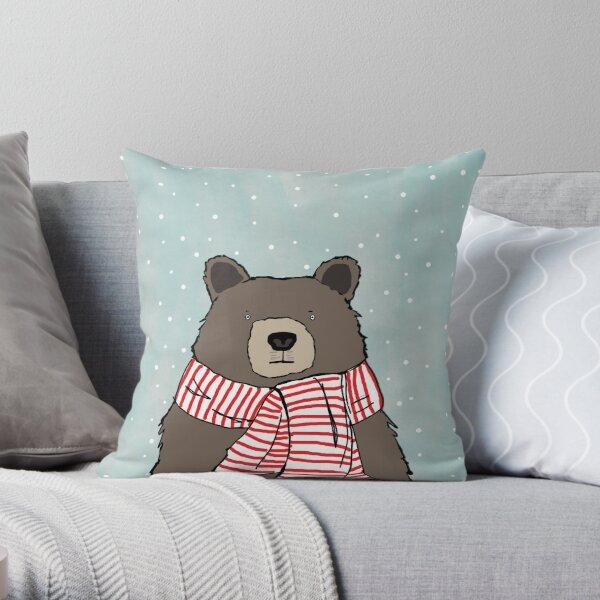 Bear in Scarf Throw Pillow