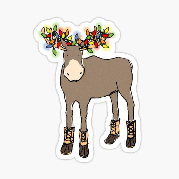 Christmas Moose Sticker