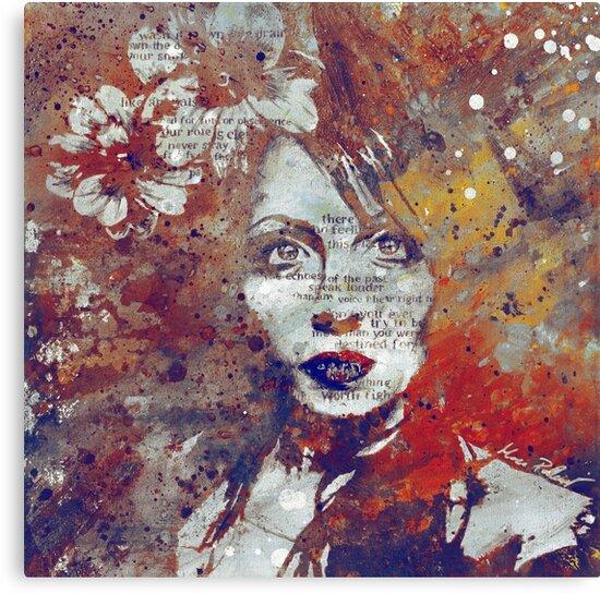 Farewell, Mona Lisa: Autumn (magnolia flower girl graffiti portrait) by kiss-my-art