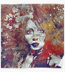 Farewell, Mona Lisa: Autumn (magnolia flower girl graffiti portrait) Poster