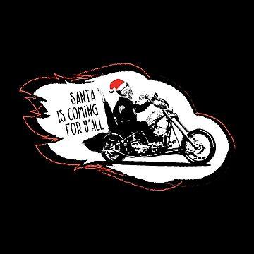 Skeleton Santa Biker is Coming by udesignstudio