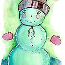 Snowman: Greens and Pinks by Kimberly Pusey