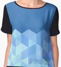 Blue Cube Geometric Pattern Women's Chiffon Top