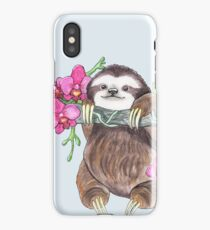Happy Sloth with orchids iPhone Case/Skin