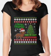 Merry Christmas From Dachshund Dog Ugly Sweater T Shirt Women's Fitted Scoop T-Shirt