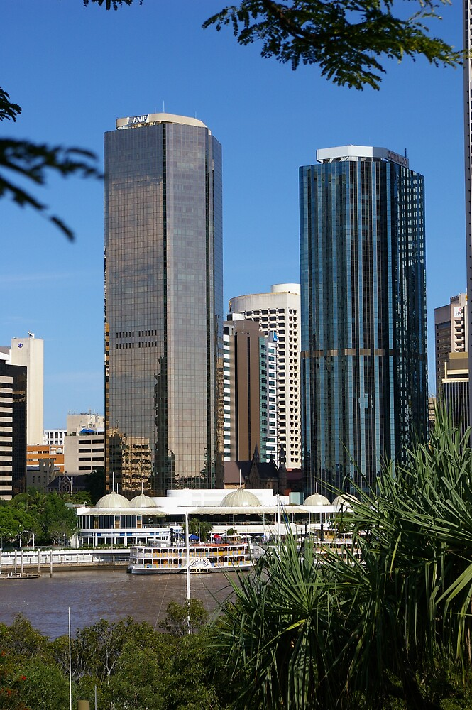 Brisbane Skyline from Kangaroo Point by Terry  Jackson
