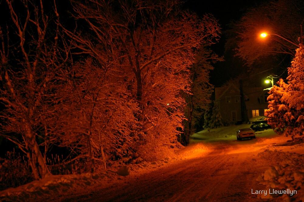 Snowy Road at Night.... by Larry Llewellyn