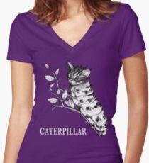 Caterpillar, Cat + Caterpillar Hybrid Animal Women's Fitted V-Neck T-Shirt