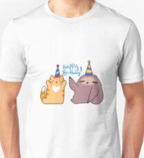 Happy Birthday! Sloth and Orange Tabby Cat T-Shirt