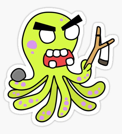 angry zombie octopus Sticker
