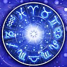 Zodiac Signs Blue Galaxy Circle  by BluedarkArt