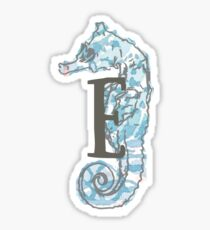 Seahorse with Letter E Sticker