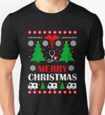 Camiseta unisex NURSE UGLY SWEATER Merry Christmas T Shirt   Nursing Holiday