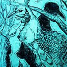 Blue Peacock Lady by Natalija Vocanec