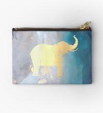 Gold Metallic Elephant on Blue Watercolor Design Studio Pouch