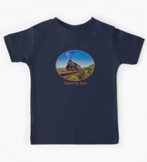 """Travel by Rail"" Cool Vintage Steam Train engine Kids Tee"