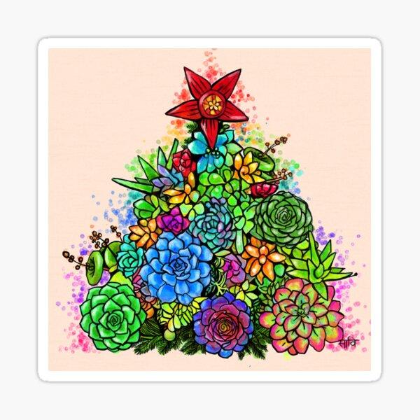 Succulent Christmas Tree ( Beige ) Sticker