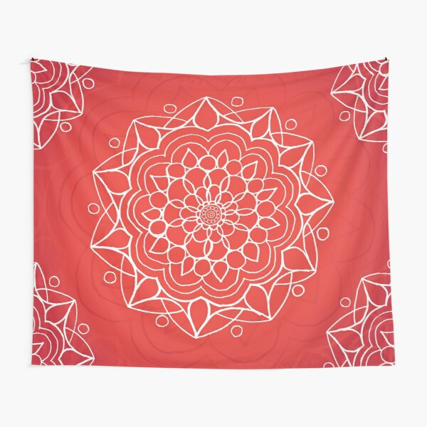 Mandala Wall Tapestry - Red/White Tapestry