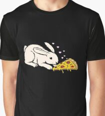 Cute Bunny Rabbit Eating Pizza Graphic T-Shirt
