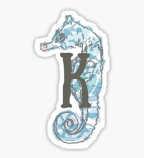 Seahorse with Letter K Sticker