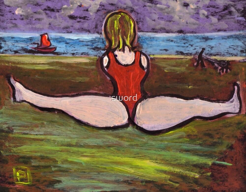 Yoga on the beach by sword