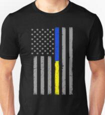 Thin Blue Gold Line American Flag Unisex T-Shirt
